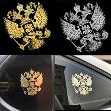 Герб России, металлическая наклейка на окна автомобиля, переводная эмблема Российской Федерации, эмблема орла, украшение для автомобиля, ноутбука, телефона
