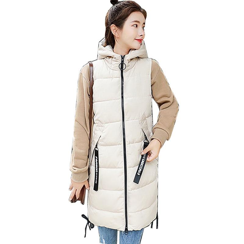 2018 Herbst Winter Frauen Weste Lange Weste Baumwolle Ärmellose Jacke Warme Mit Kapuze Oberbekleidung Neue Plus Größe Weibliche Verdicken Weste Sparen Sie 50-70%