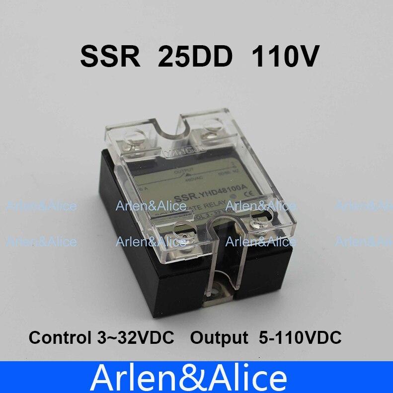 Подробнее о 25DD SSR Control voltage 3~32VDC output 5~110VDC DC single phase DC solid state relay soild state relay ssr 25 dd dc dc 25a 3 32vdc 5 200vdc