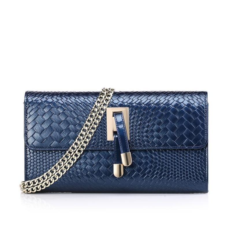 ФОТО NEW Women Genuine Leather handBag with chain Women's weave Messenger Bags Famous Brands High Quality blue tassel Shoulder Bag
