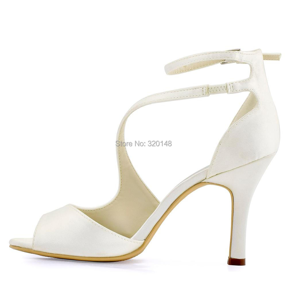 159de3c19a US $39.49 21% OFF|Aliexpress.com : Buy Women Summer Sandals Ivory Wedding  Bridal Ankle Strap High Heel Bride Bridesmaid Sexy Evening Party Shoes Hot  ...