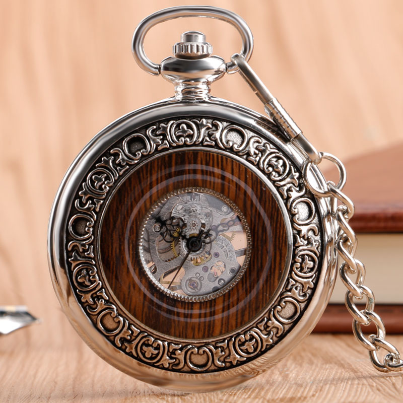 2017 Luxury Wood Circle Silver Carving Skeleton Mechanical Hand Wind Pocket Watches Men Women Chain Gift P2096C unique smooth case pocket watch mechanical automatic watches with pendant chain necklace men women gift relogio de bolso