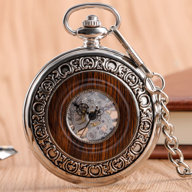 2017 Luxury Wood Circle Silver Carving Skeleton Mechanical Hand Wind Pocket Watches Men Women Chain Gift P2096C