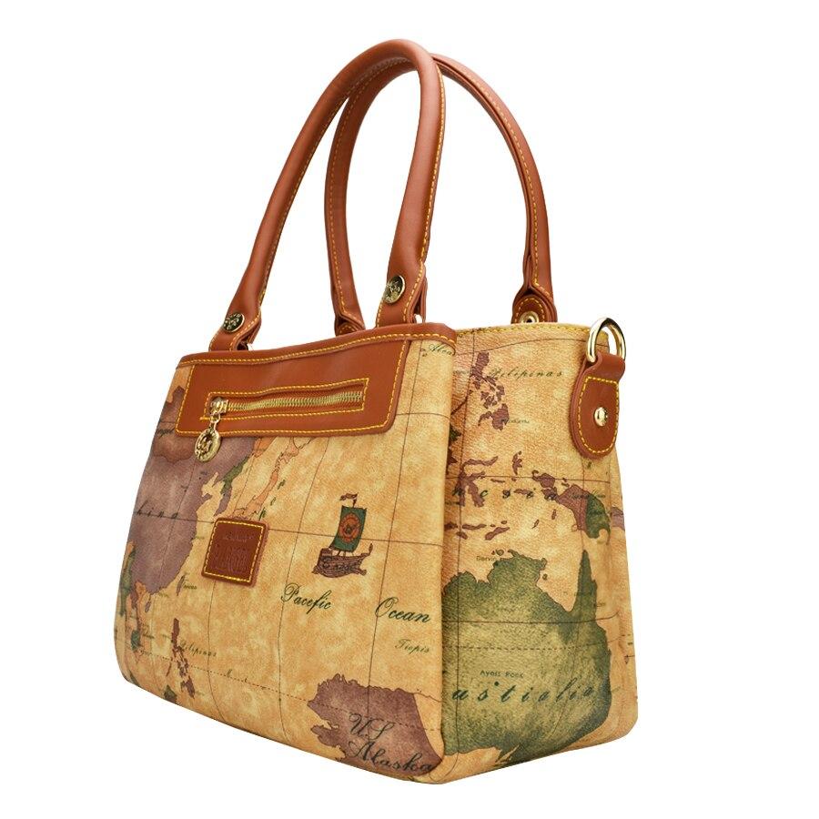 Haute qualité carte du monde femmes sac mode femmes messenger sacs spécial sac à main marque designer sac à bandoulière rétro sacs d'école - 2