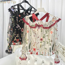 2017 Limited New Polyester Summer Women's Shirt Holiday Sexy Lips Lotus Leaf Mesh Yarn Hanging Neck Speaker Long-sleeved Women