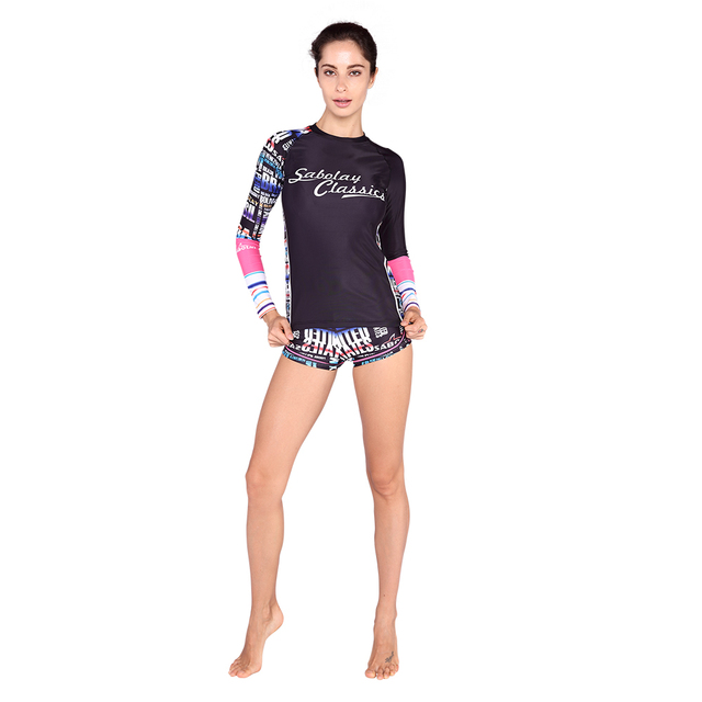 f295bd07dc2eb Rash Guard long sleeve swimsuit surf swimwear women sport girl swim shirt  surf shorts 2 piece bathing suit bodysuit VY007