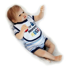 With Romper Blue Eyes Boy Baby Dolls 20 Inch Newborn Reborn Babies Toy Cloth Body Silicone Realistic Doll Kids Birthday Gift