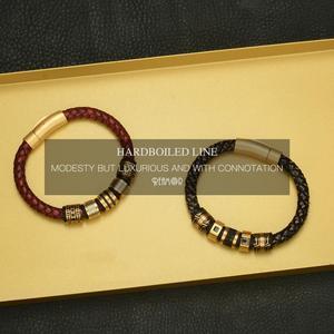 Image 5 - REAMOR 8mm Rode Gevlochten Volnerfleer mannen Armband rvs Shining Gouden Kralen Charm Armbanden Bangle sieraden