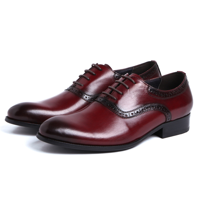 High Quality Men Wedding Shoes Genuine Leather Lace Up Dress Cow Leather Oxfords For Man Handmade Flats Formal Shoes