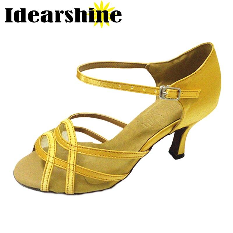 2017 merk geel satijn latin dansschoenen vrouwen gezelschap schoenen salsa party stijldansen schoenen