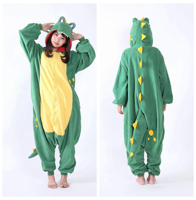 Adult Women Men 2018 Costume Cartoon Green Crocodile Onesies Cosplay Pajamas Sleepwear Winter Pyjamas Anime Show Christmas Party