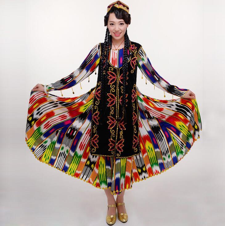 Women National Dance Costume Xinjiang Dancing Costumes Uygur New Female Eddie Rice Silk Dress