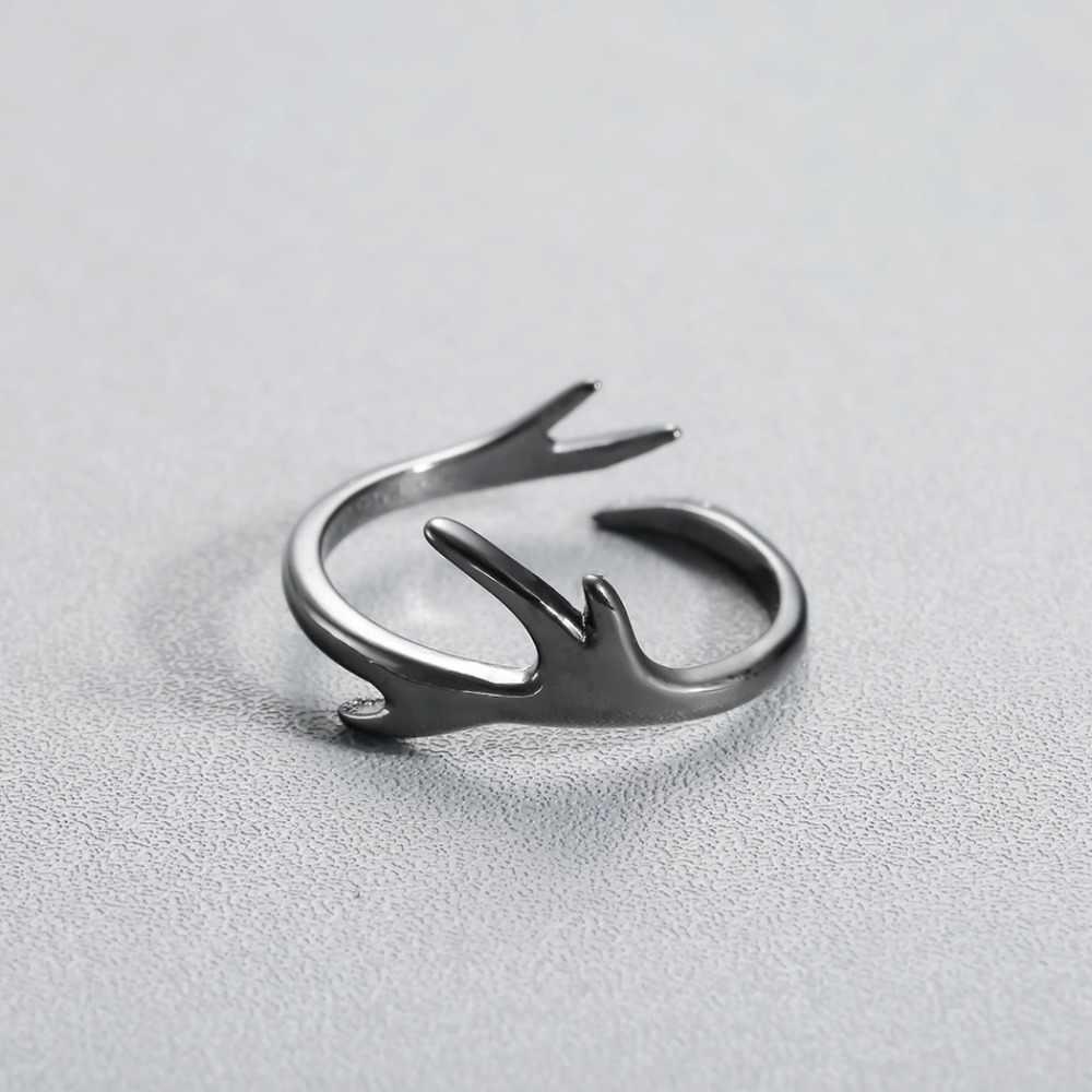 Cxwind Anlter Moda Feminina Bonito Black Branch Anéis Adjustble Tamanho Veados Anéis Presente Maravilhoso Para As Meninas Adolescentes Senhora Dedo Jóias