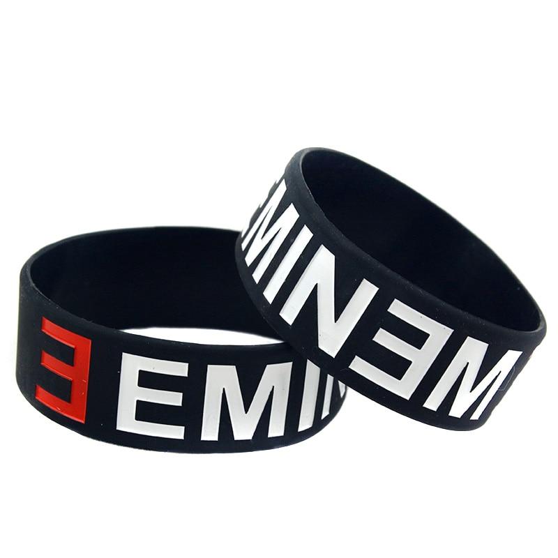 OBH 2PCS ein Zoll breites schwarzes Eminem Silikonkautschuk-Armband - Modeschmuck - Foto 1