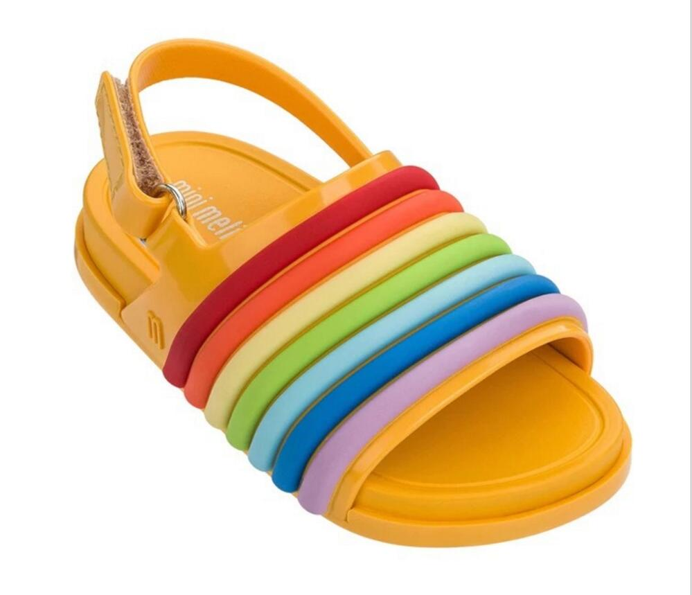 Mini Melissa Rainbow Strip Sandals 2018 New Summer Shoes Jelly Shoe Girl Non-slip Kids Sandal Toddler