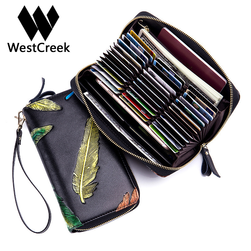 Westcreek Brand Minimalist Leather Women RFID Long Organ Wallets Business Card Holder Zipper Pocket Coin Purse Wrist Clutch Bag