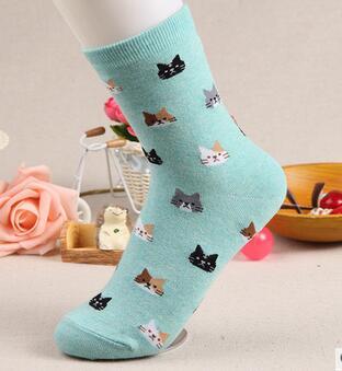 100pairs/lot fedex fast free shipping european style woman casual cotton winter socks cartoon animal cat socks free
