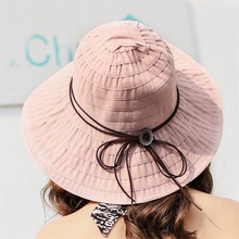 цены Women Sun Hats anti-UV wide Brim Sun Hat for Women Vacation Summer Panama Foldable Bucket Hat Large Brim Korean Beach Sun Hat