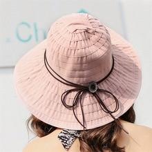 Women Sun Hats anti-UV wide Brim Hat for Vacation Summer Panama Foldable Bucket Large Korean Beach