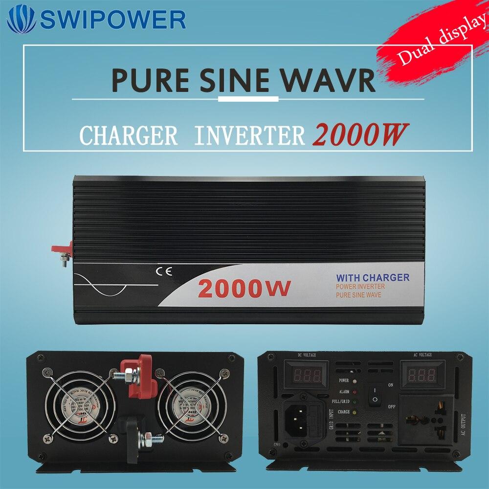 Ups onduleur 2000 W pur onduleur à onde sinusoïdale avec chargeur 12 V 24 V 48 v DC à AC 220 V 230 V 240 v solaire puissance onduleur