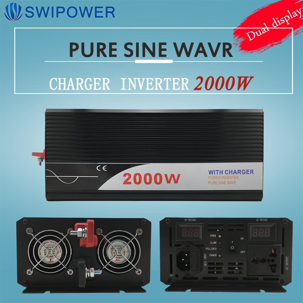 цена на ups inverter 2000W pure sine wave inverter with charger 12V 24V 48v DC to AC 220V 230V 240v solar power inverter