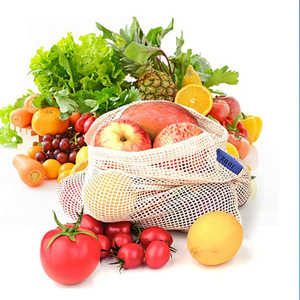 Image 3 - Reusable Cotton Vegetable Bags Home Kitchen Fruit And Vegetable Storage Mesh Bags With Drawstring Machine Washable