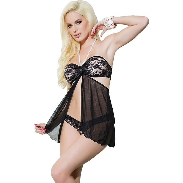 Black Lace Pearl Halter Neck Babydoll With Thong Set