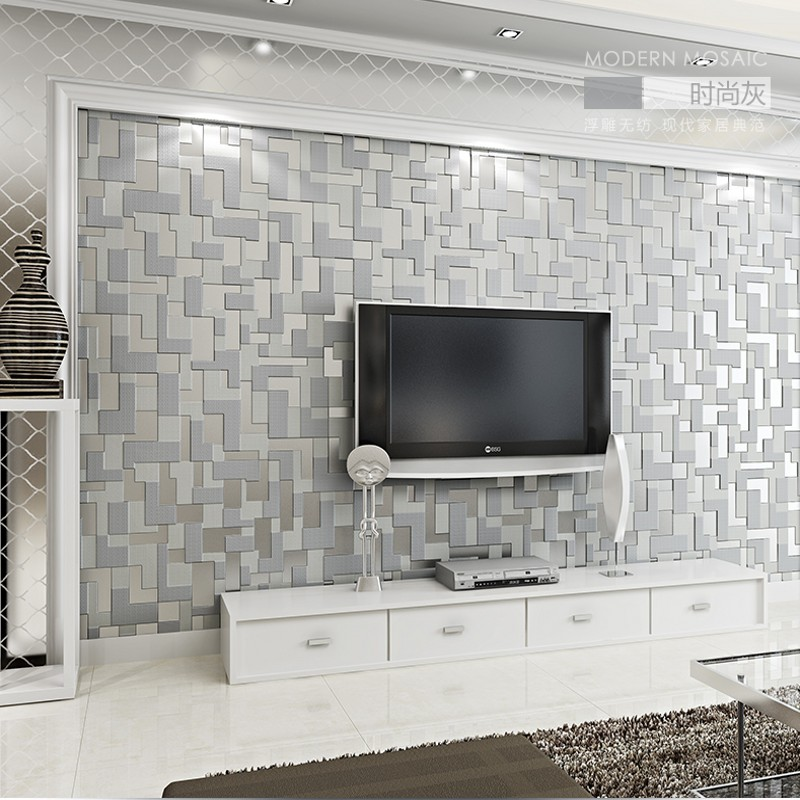 PAYSOTA High Quality 3D Mosaic Lattice Wall paper Europe Modern Embossed Flocking Non-Woven Living room TV Background Wallpaper ...