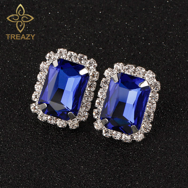 TREAZY Fashion Royal Blue Crystal Oblong Stud Earrings For Women Silver Plated Rhinestone