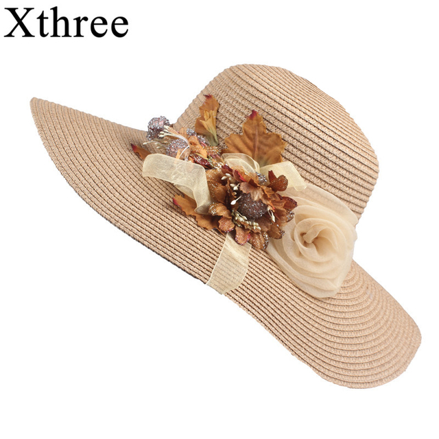 176679045 Xthree Good quality Summer hat women Raffia straw cap Ladies Big brim Sun  hat for girl flower and Lace beach hat