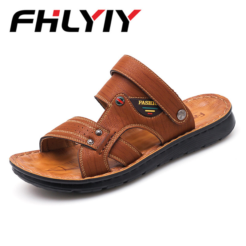 Summer Genuine Leather Buckle Strap PU Sole Sandals 2018 Man Casual Flat Leisure Summer Gladiator Shoes Zapatos Hombre
