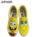 JUP Womens Children Girls  Hand Painted Canvas Shoes Low To Help Students With Spongebob Flag Pattern Mouse Panda Slip On Shoes