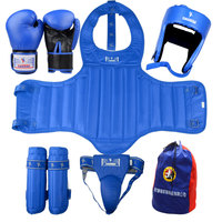 2017 new quality MMA kick boxing protectors suit blue color men women taekwondo fighting chest shin groin protectors Helmet 5pcs