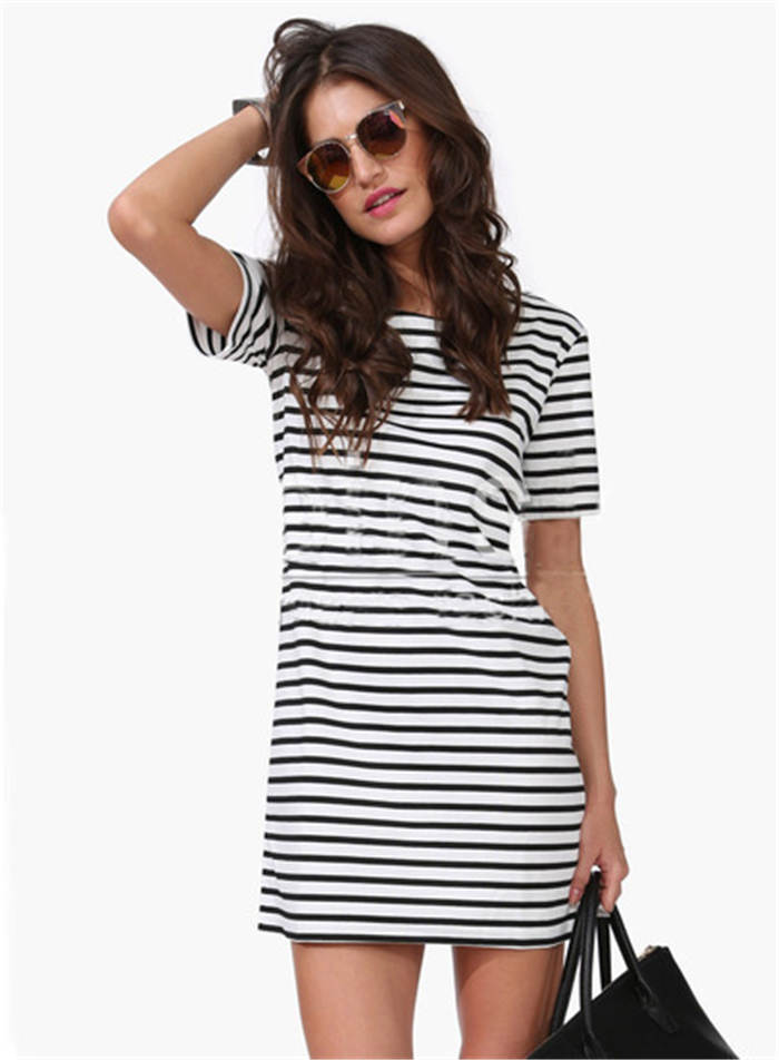 9db4b60f94f0 2015 Summer New Arrival Women s Clothing Ethnic Tshirt Dress Black White  Striped Short Sleeve Straight Short Casual Mini Dress-in Dresses from  Women s ...