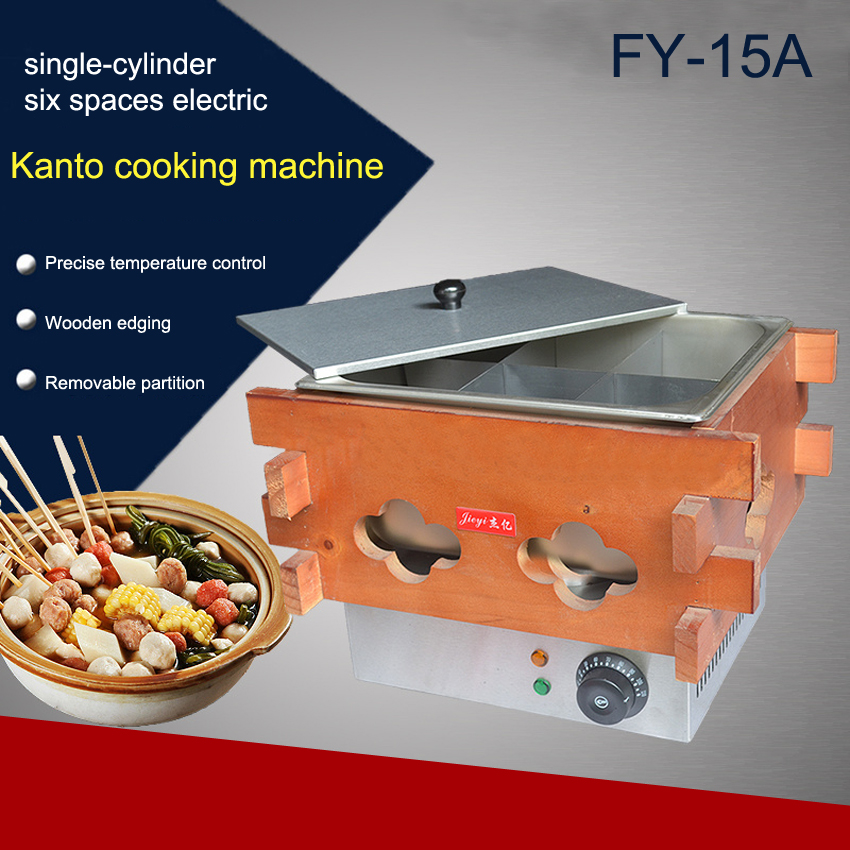1pc High quality Commercial wooden electric six spaces FY-15A Kanto cooking machine stainless steel 110V or 220V 1500W 10oz stainless steel 110v 220v electric commercial popcorn machine with temperature control