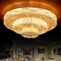 Роскошные светодио дный кристалл потолочный светильник для Гостиная современный светодио дный золото K9 кристалл лампы Блеск Cristal 110 V 220 V