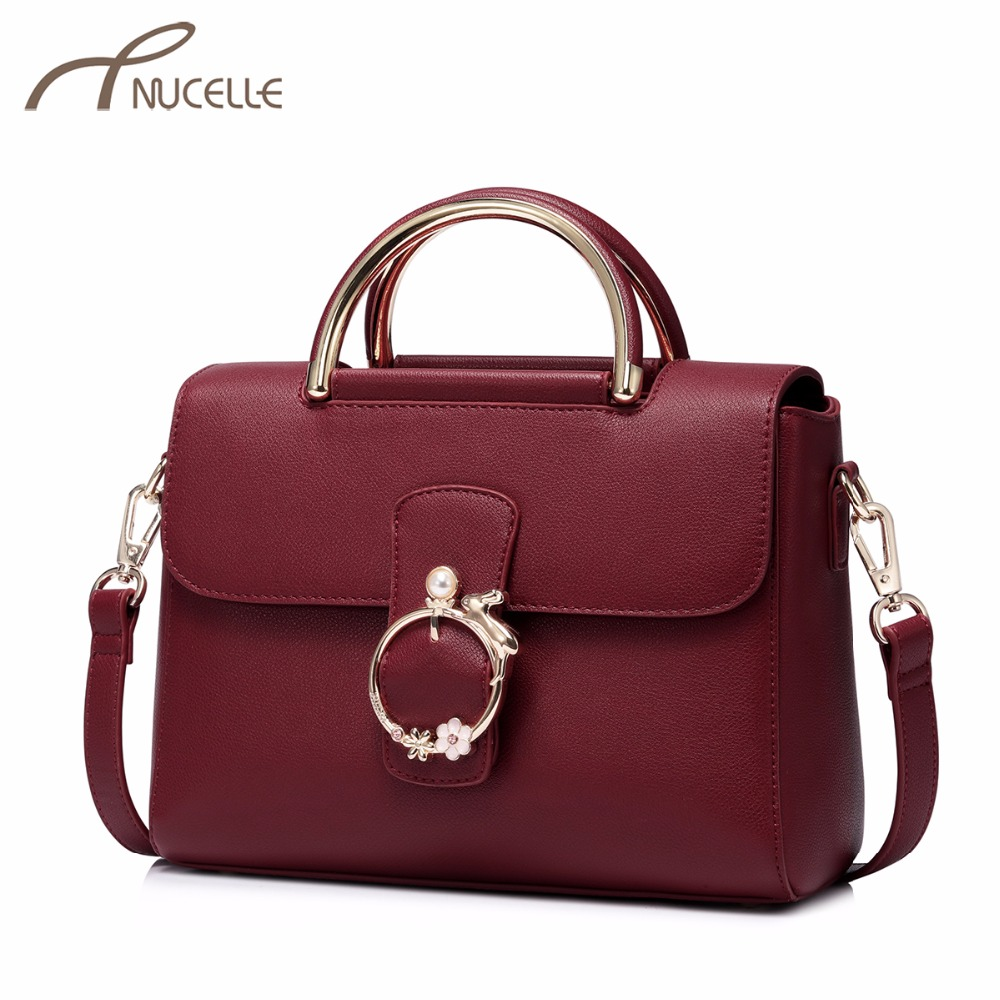 NUCELLE Women's PU Leather Handbags Ladies Fashion Messenger Tote Purse Female Leisure All-match Flap Crossbody Bag High Quality