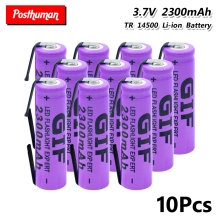 14500 Lithium Battery 3.7V 2300mAh Rechargeable Batteries Welding Nickel Sheet bateria For Torch LED Flashlight Toy gtf 4pcs 3 7v 14500 2300mah li ion rechargeable battery for led flashlight torch