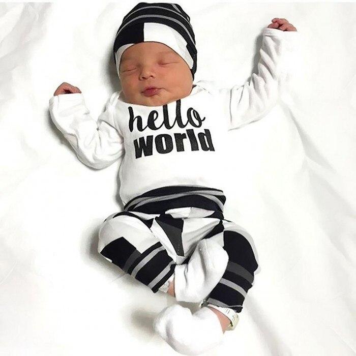 3 Stücke! 2019 Neue Herbst Baby Boy Kleidung Set Baumwolle T-shirt + Hosen + Hut Infant Kleidung Neugeborenen Baby Mädchen Kleidung Set Baby Kostüme