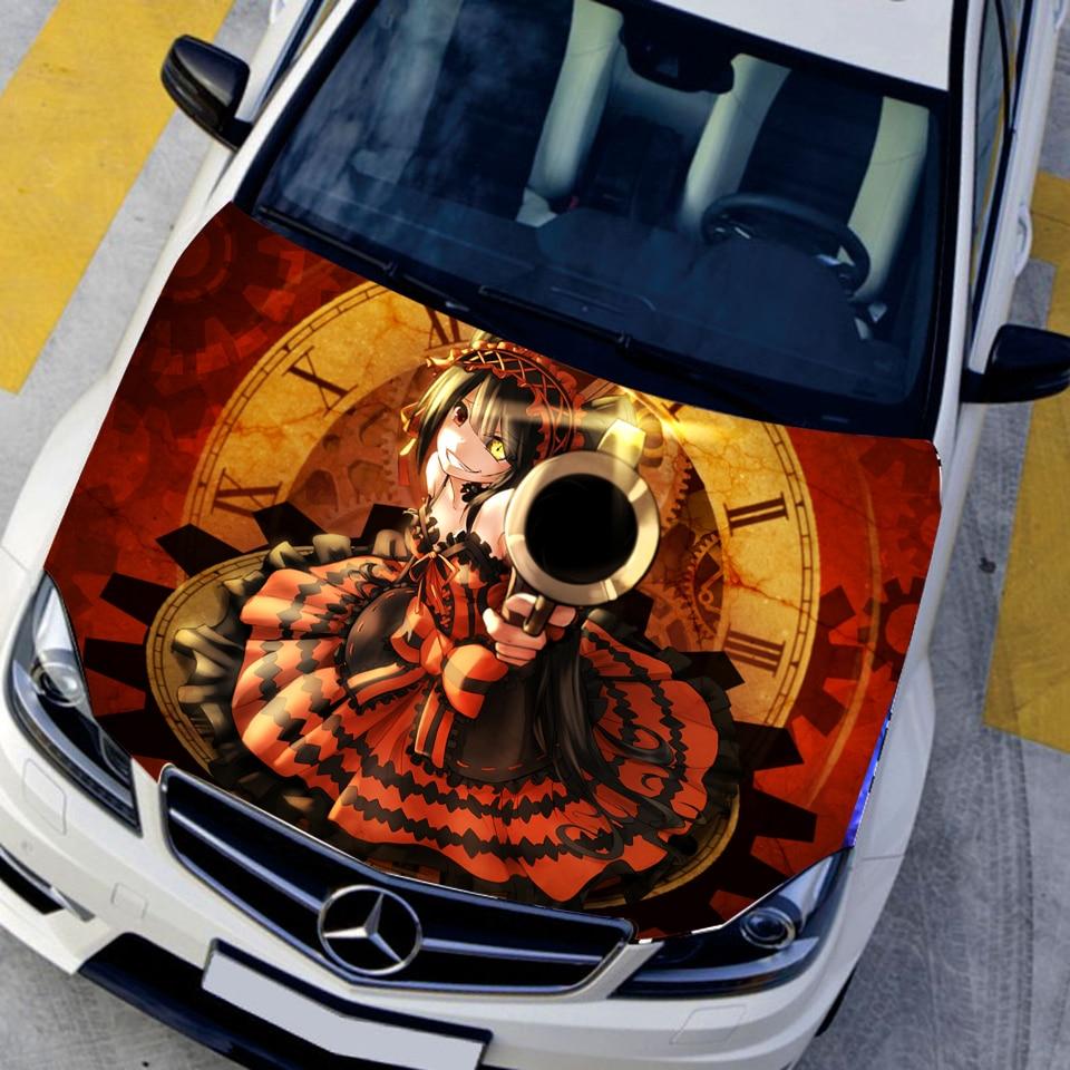 Voiture style de bande dessinée capot autocollants tokisaki kurumi anime stickers camouflage peinture de voiture autocollants autocollant de chapeau de
