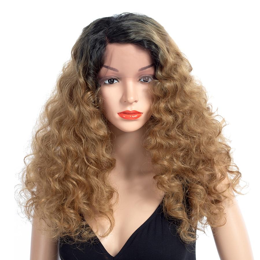 Шикарные волосы длинные вьющиеся Синтетические волосы на кружеве парик Синтетические Ombre парики для Для женщин термостойкие 20 дюймов 150% Пл