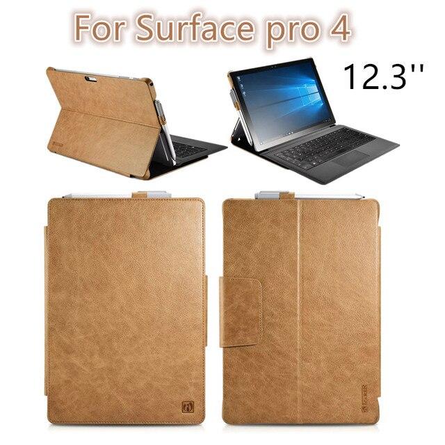 Для Поверхности pro4 12.3 дюймов Luxury untra-slim ИСКУССТВЕННАЯ Кожа Флип чехол для Surface pro 4 защитный рукав shell free доставка