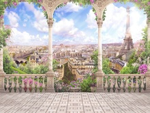 Laeacco Sunny Cloudy Sky Palace Flowers Arch Eiffel Tower Paris Photography Backgrounds Vinyl Customs Backdrops For Photo Studio