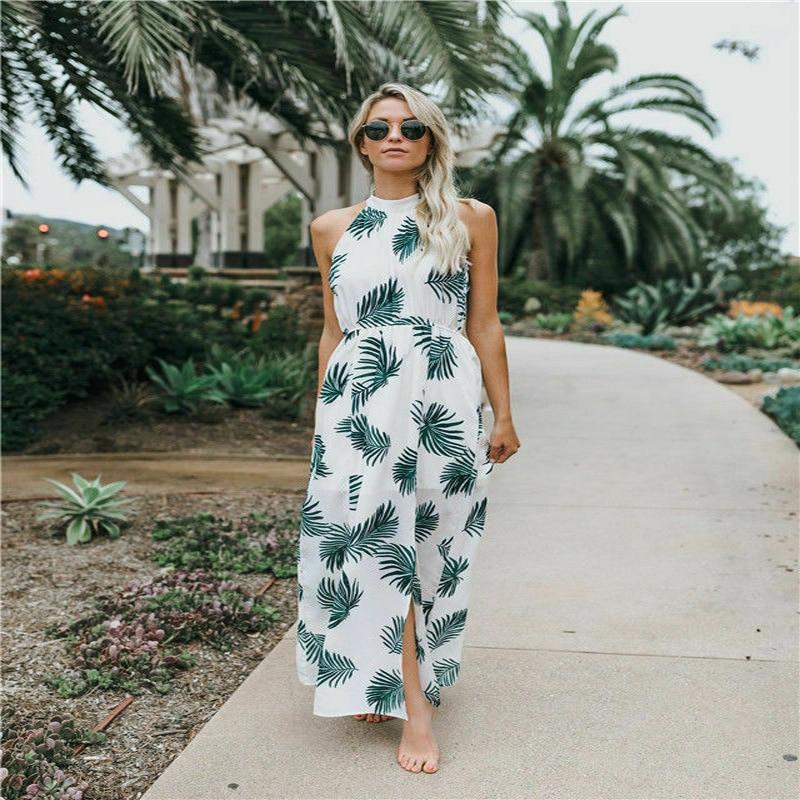 Hirigin Newest Summer Women Boho Floral Sleeveless Beach Long Elegant Dress Evening Party Night Ball 2019 in Dresses from Women 39 s Clothing
