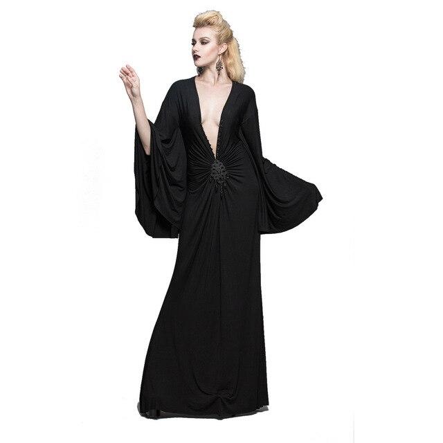 Steampunk frauen party dress schwarz tiefem v ausschnitt kleider ...
