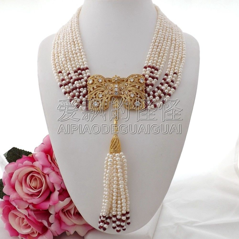 N090404 19 9Strands White Pearl Red  Necklace CZ PendantN090404 19 9Strands White Pearl Red  Necklace CZ Pendant