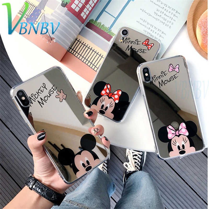 VBNBV Cute Cartoon Mirror Silicone phone Cases For iPhone X XS Max XR Phone Soft TPU Back Cover for iPhone 7 8 6 6S Plus case