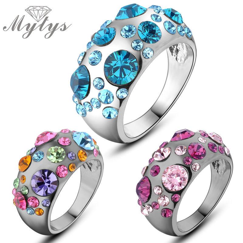 Mode Ringe Gold-farbe Anillos Hochzeit Ringe Österreichischen Kristall Umwelt Micro-eingefügt Schmuck R150130297p Hochzeits- & Verlobungs-schmuck