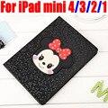 Fashion Mickey & Minnie Smart Case For iPad mini 4/3/2/1 PU Leather Cover for iPad Mini 4 3 2 1 IM418