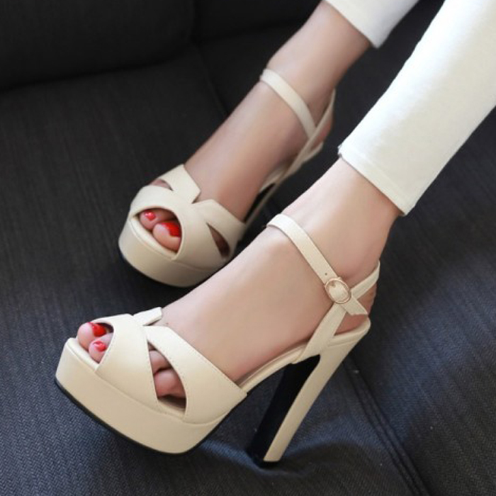 Cheap Platform Pumps Thick High Heels Peep Toes Sandals Summer Discount Womens Shoes Free Shipping